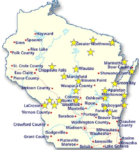 Wisconsin Area Map Pams Bee Sharp Piano Tuning - Detailed map of wisconsin
